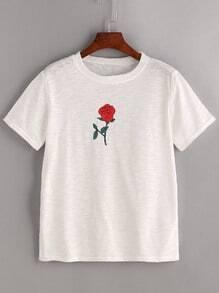 Camiseta con estampado de rosa - blanco