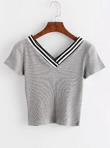 Grey Contrast Trim Striped V Neck T-shirt