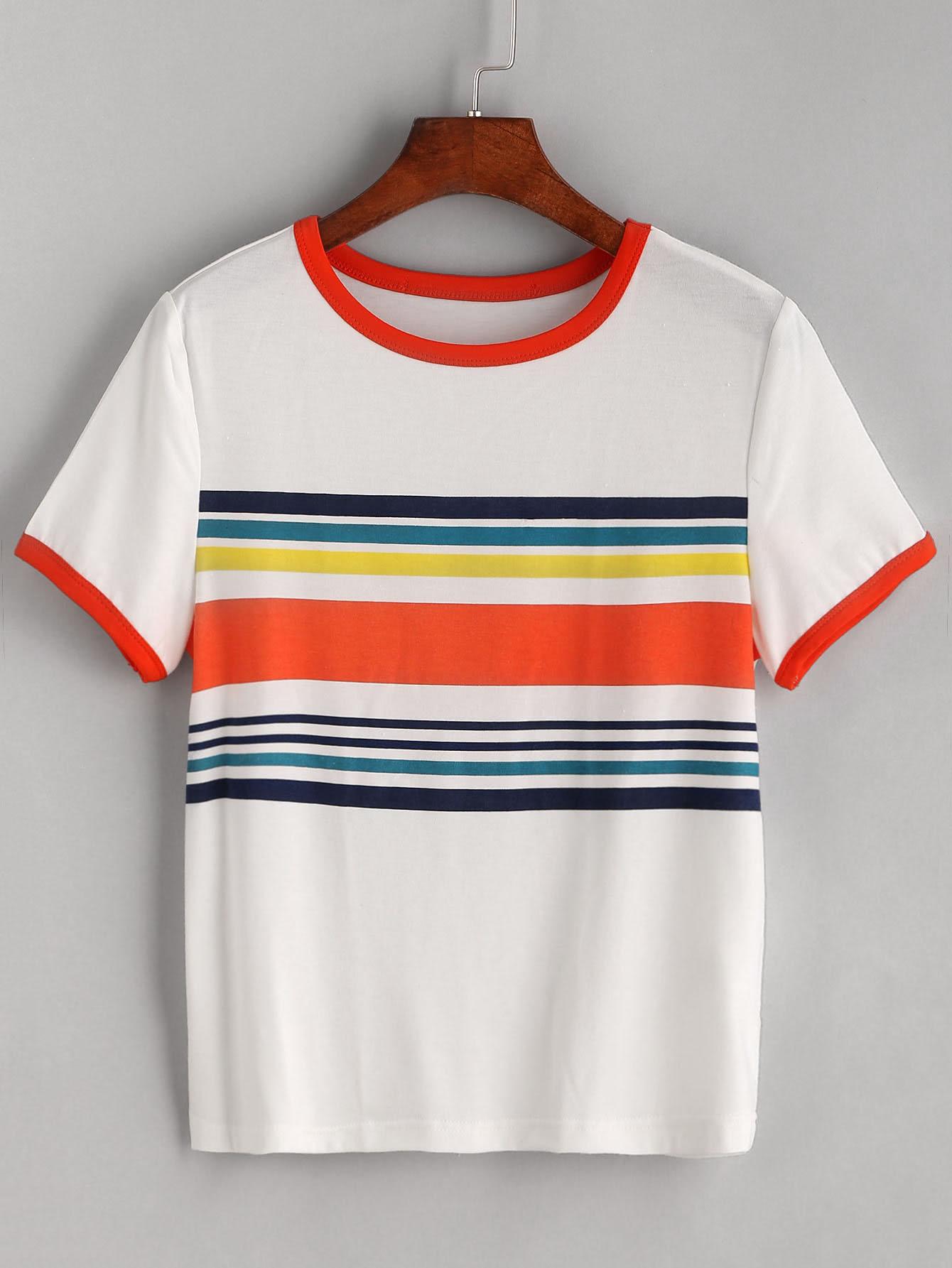 White Contrast Striped Trim T-shirt