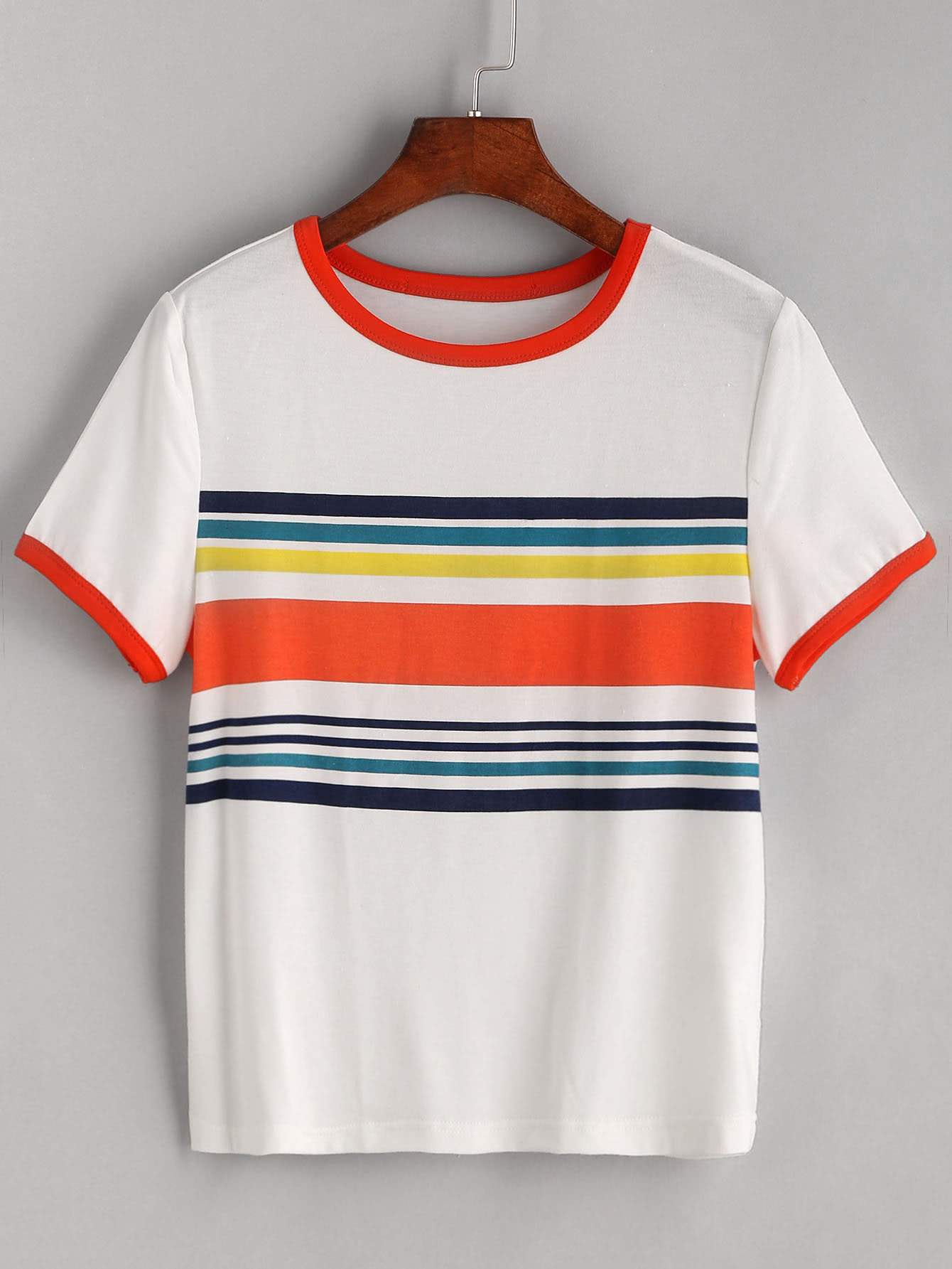 White Contrast Striped Trim T-shirt