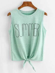 Light Green Letter Print Knotted Hem Tank Top