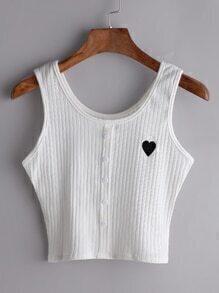 Top con bordado de corazón y botón en la parte delantera - blanco