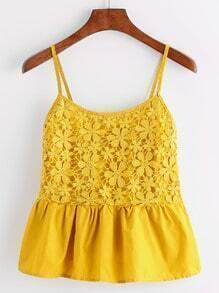 Yellow Lace Splicing Ruffle Cami Top
