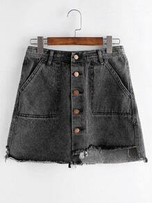Asymmetric Single Breasted Pocket Raw Hem Denim Skirt