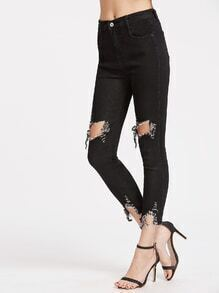 Black Ripped Raw Hem Jeans