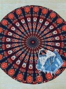 Mehrfarbige Stammes- Druck-Weinlese-runde Strand-Decke