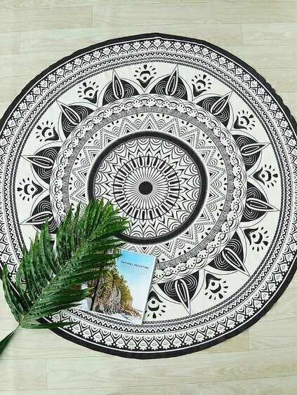 Black And White Print Boho Round Beach Blanket