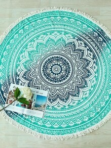 Green Vintage Floral Print Fringe Trim Round Beach Blanket