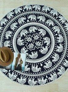 Black Elephant Print Pom Pom Trim Round Beach Blanket
