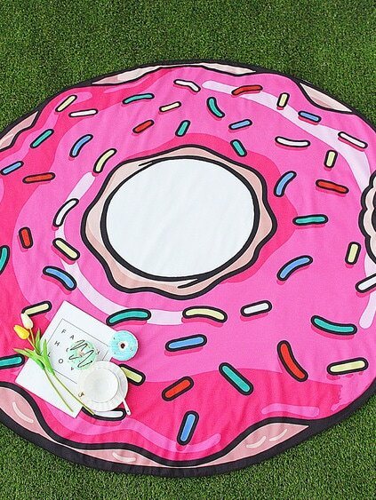 Pink Doughnut Shape Cute Beach Blanket
