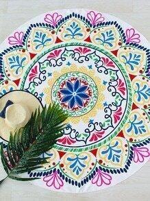 Manta playera redonda con estampado floral - multicolor