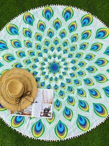 Manta playera con estampado de plumas de pavo real ribete con pompones - verde