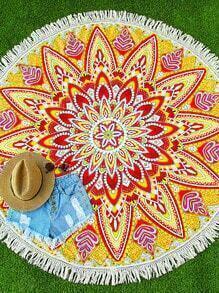 Yellow Floral Print Fringe Trim Round Beach Blanket
