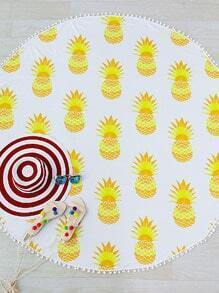 Yellow Pineapple Print Pom Pom Trim Round Beach Blanket