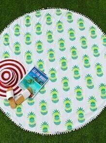 Manta playera redonda con estampado de piña ribete con pompones - verde