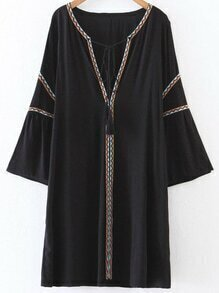 Black Embroidery V Neck Tassel Tie Dress