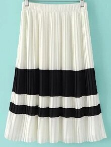 Black And White Color Block Pleated Skirt