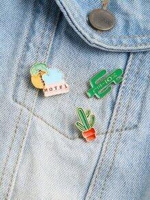 Vert, cactus, FORME, mignon, pin, ensemble
