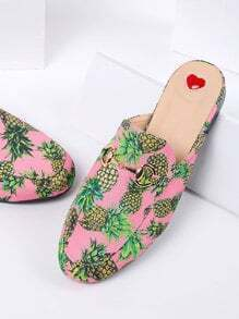 Pink Pineapple Print Flat Slippers