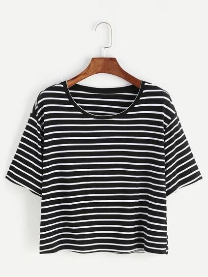 Black And White Striped Crop T-shirt