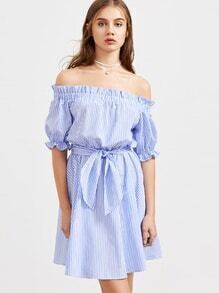 Blue Striped Ruffle Detail Belted Off The Shoulder Dress