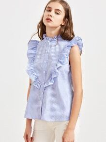 Blue Striped Ruffle Detail Sleeveless Blouse