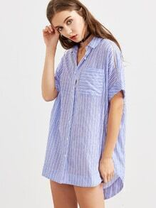 Blue Striped Eyelet Lace Insert High Low Blouse