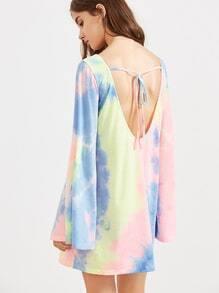 Multicolor Tie Dye Print Bell Sleeve Tee Dress