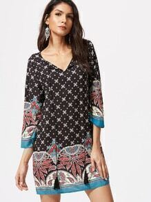 Black Ornate Print Tassel Tie Neck 3/4 Sleeve Tunic Dress