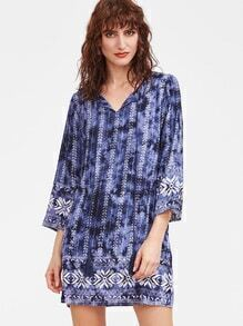 Blue Tie Dye Print Tassel Tie Neck 3/4 Sleeve Dress
