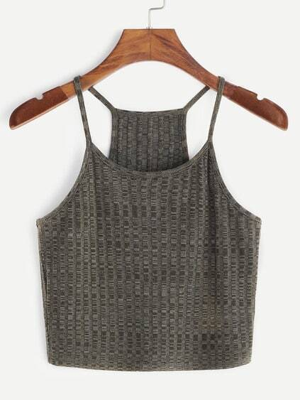 Olive Green Ribbed Knit Racerback Cami Top