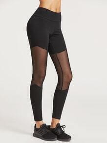 Leggings con malla - negro