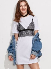 White Short Sleeve Tee Dress With Contrast Lace Cami Top