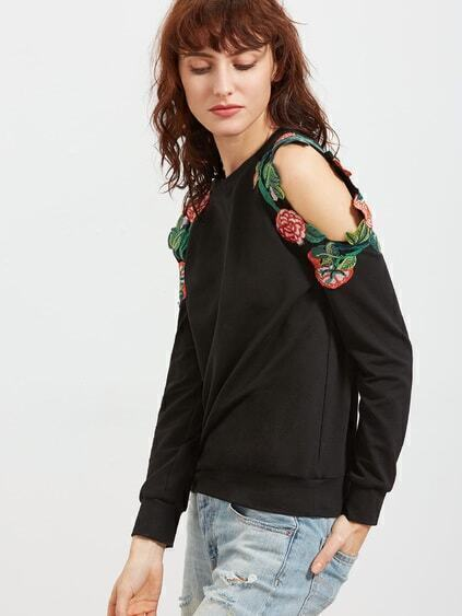 Black Embroidered Flower Applique Cold Shoulder Sweatshirt