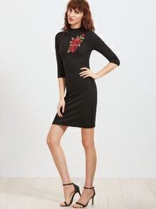 Black Mock Neck Embroidered Rose Applique Ribbed Sheath Dress