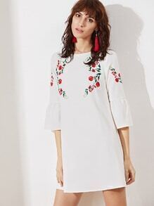 White Bell Sleeve Embroidered Tunic Dress