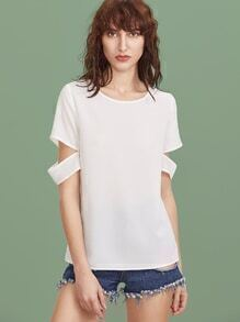 White Split Back Ripped Sleeve Top