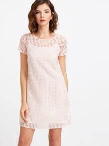Pink Eyelet 2 In 1 Dress