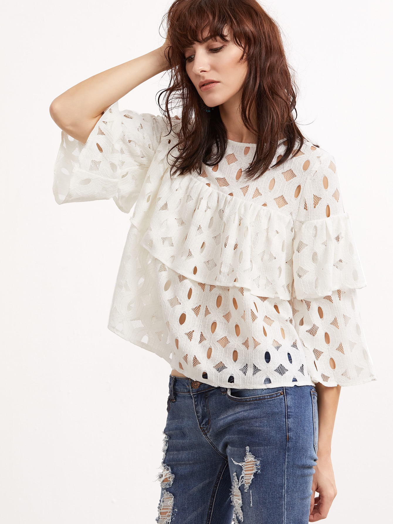 White Hollow Out 3/4 Sleeve Layered Ruffle Lace Top