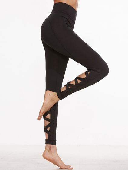 Black Cutout Crisscross Back Leggings