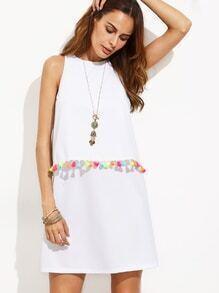 Vestido borlas sin manga línea A - blanco