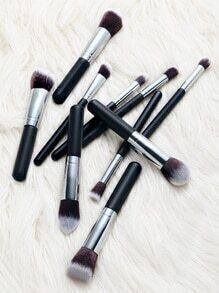 Set cepillo de maquillaje profesional 10pcs - negro plateado