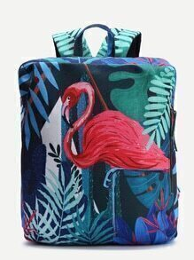 Bird Pattern Casual Canvas Backpack