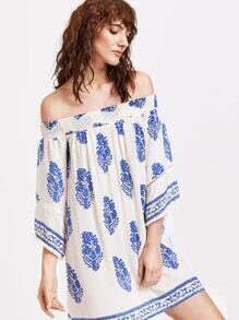 Tribal Print Tassel Trim Shirred Dress
