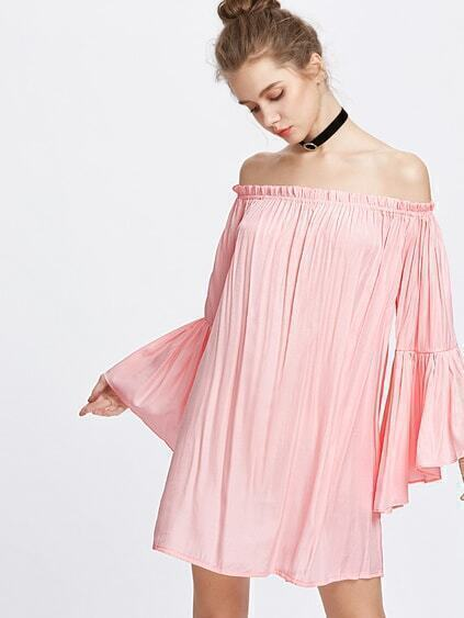 Off The Shoulder Bell Sleeve Ruffle Dress