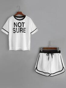 Contrast Trim Letter Print Top With Drawstring Shorts