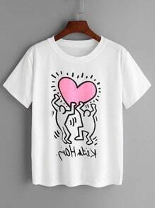 Shirt à col rond et le coeur d'impression - Blanc
