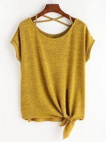Cross-shirt noué sur le côté - jaune