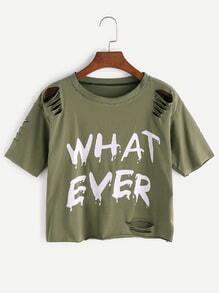 Camiseta rota con estampado de letra - verde militar