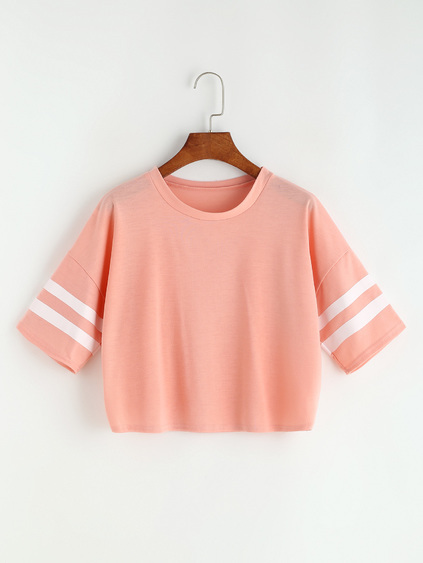 Pink Varsity Striped Drop Shoulder Crop T-shirt